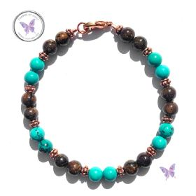 Bronzite & Turquoise Copper Bracelet